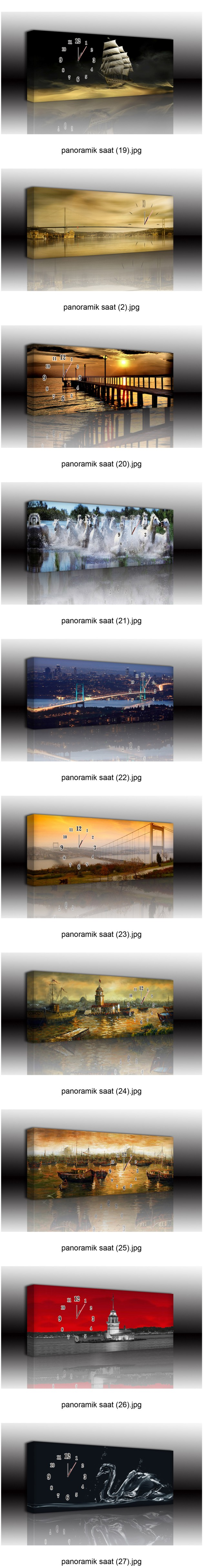 PANORAMİK CANVAS TABLO SAATLER